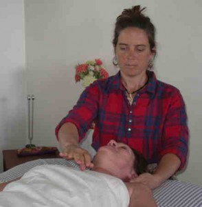 Liz during a Biodynamic Craniosacral session in the Santa Fe office.